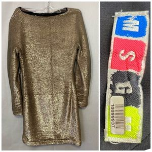 MSGM Milano Italy Dress Sequin Gold Silver 38 US4